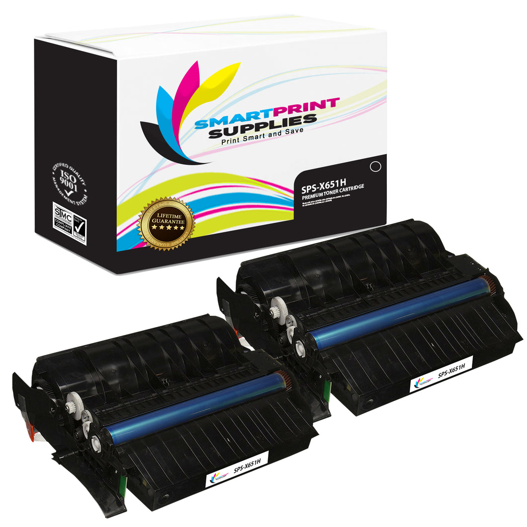 2 Pack Lexmark X651H11A Replacement Black Toner Cartridge by Smart Print Supplies