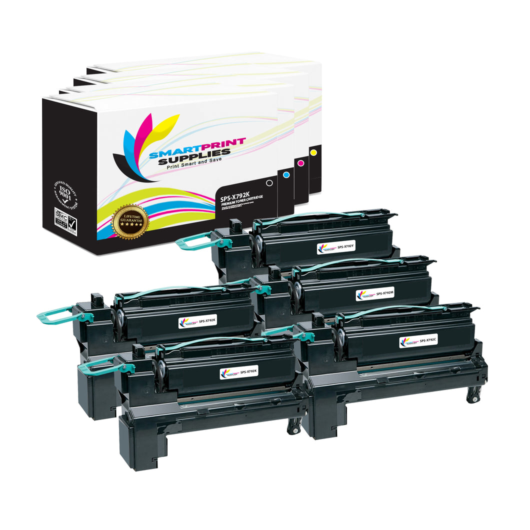 5 Pack Lexmark X792 Replacement (CMYK) Toner Cartridge by Smart Print Supplies