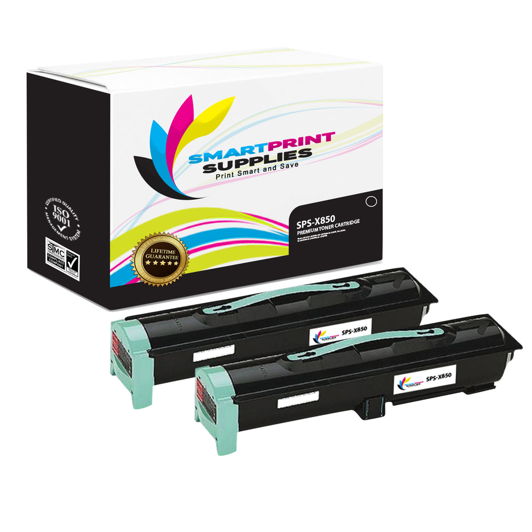 2 Pack Lexmark X850 Replacement Black Toner Cartridge by Smart Print Supplies