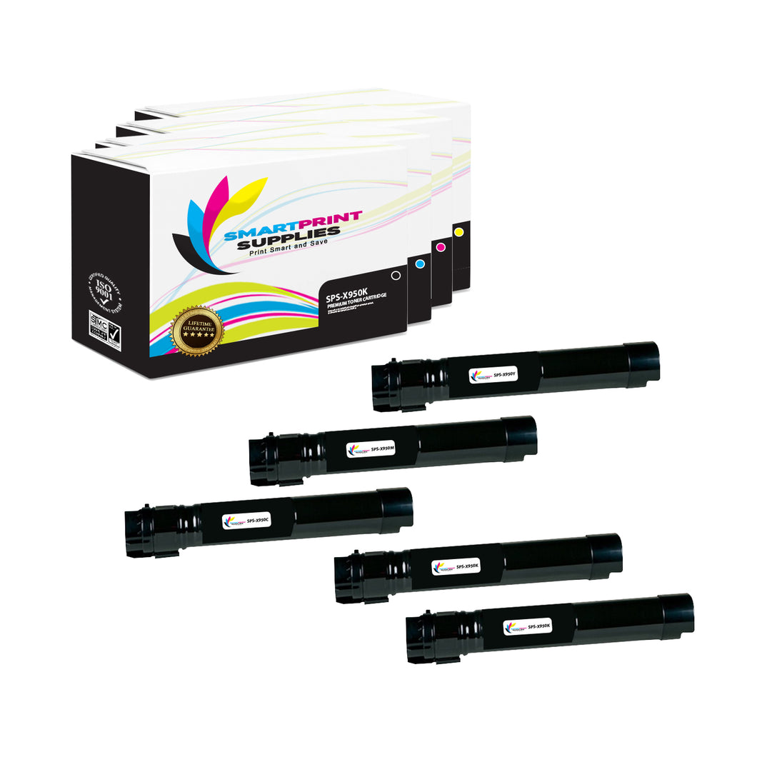 5 Pack Lexmark X950 Replacement (CMYK) Toner Cartridge by Smart Print Supplies