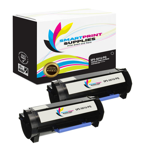 2 Pack Lexmark 501U Replacement Black Toner Cartridge by Smart Print Supplies