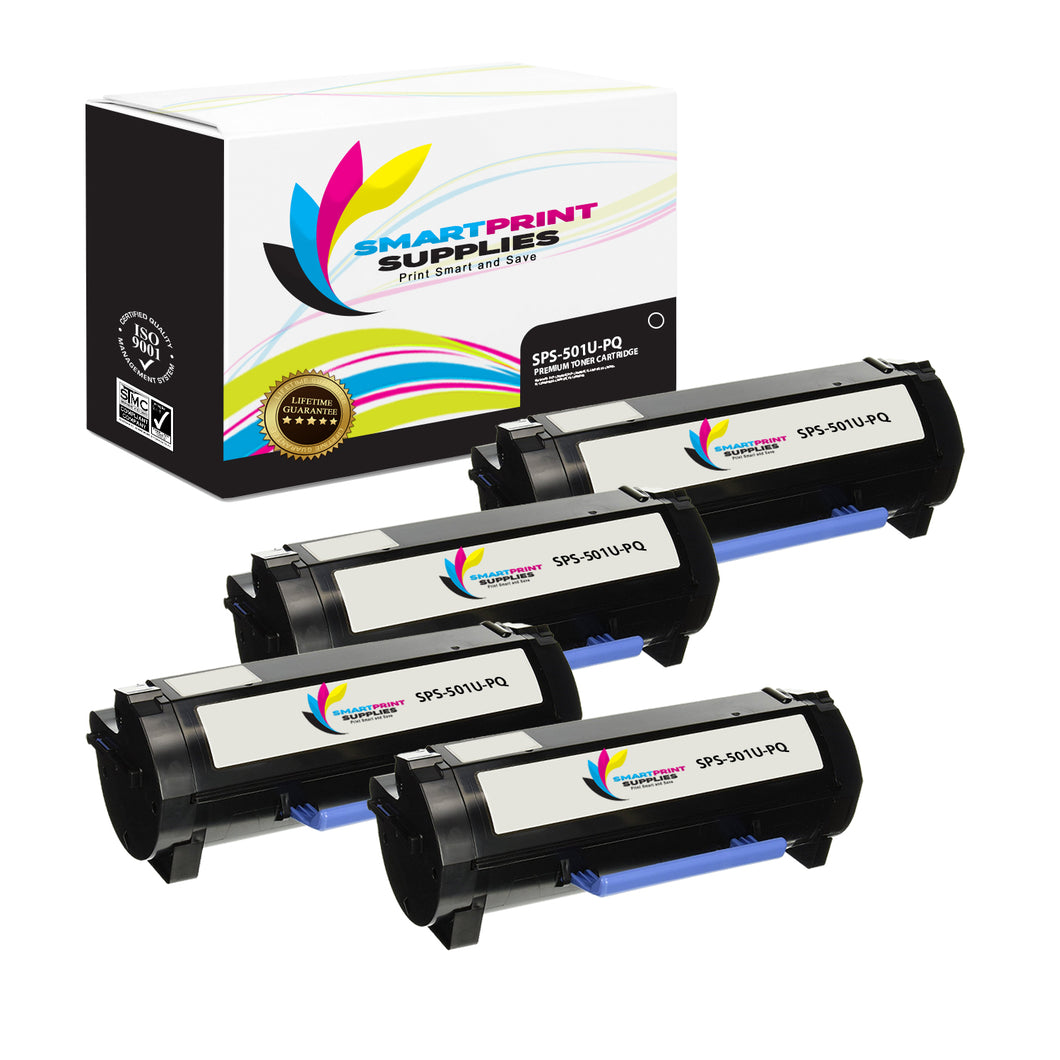 4 Pack Lexmark 501U Replacement Black Toner Cartridge by Smart Print Supplies