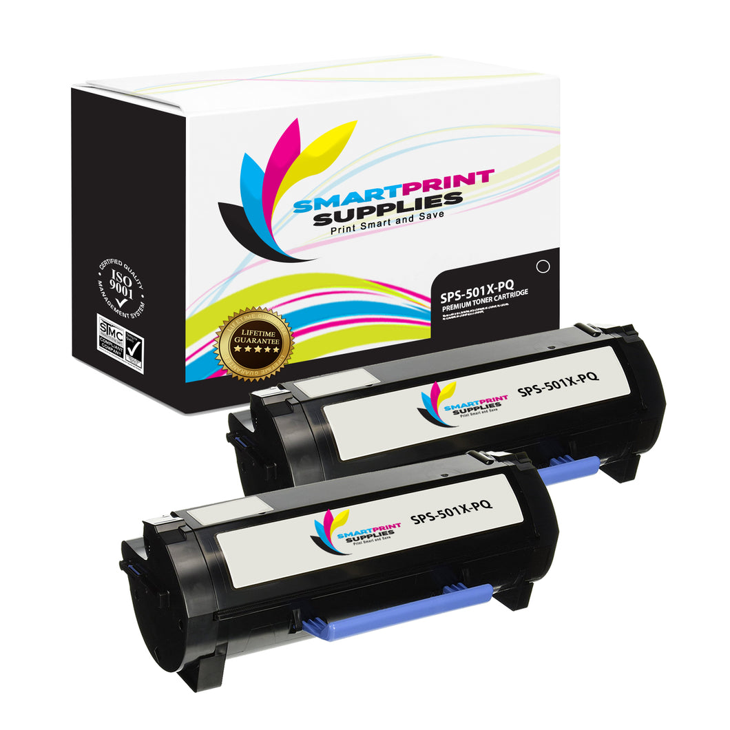 2 Pack Lexmark 501X Replacement Black Toner Cartridge by Smart Print Supplies