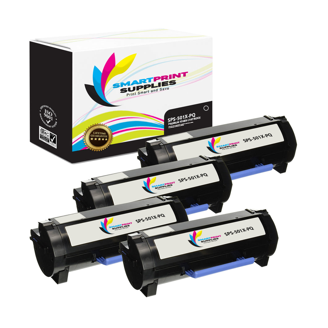 4 Pack Lexmark 501X Replacement Black Toner Cartridge by Smart Print Supplies