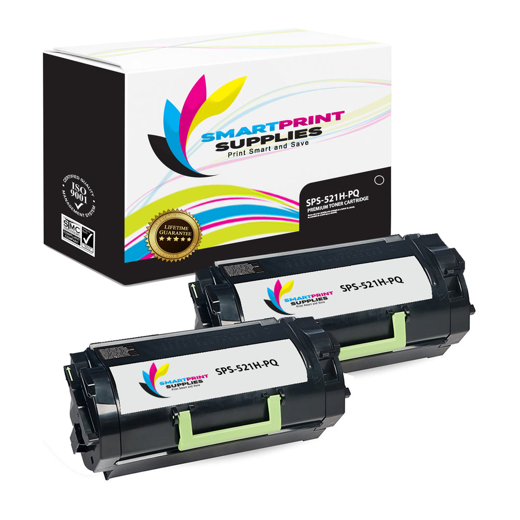 2 Pack Lexmark 521H Replacement Black Toner Cartridge by Smart Print Supplies