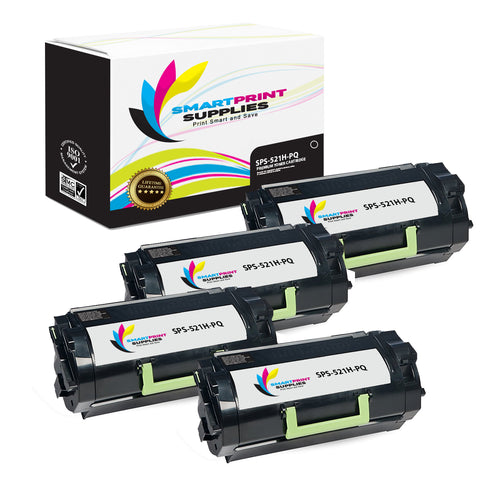 4 Pack Lexmark 521H Replacement Black Toner Cartridge by Smart Print Supplies