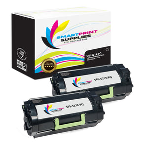 2 Pack Lexmark 521X Replacement Black Toner Cartridge by Smart Print Supplies