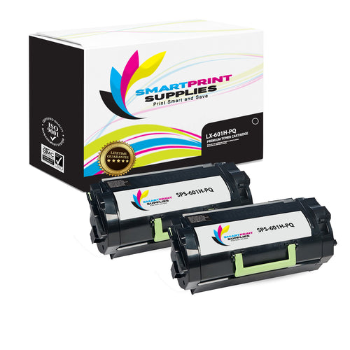 2 Pack Lexmark 601H Replacement Black Toner Cartridge by Smart Print Supplies