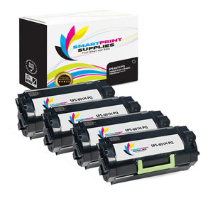 4 Pack Lexmark 601H Replacement Black Toner Cartridge by Smart Print Supplies
