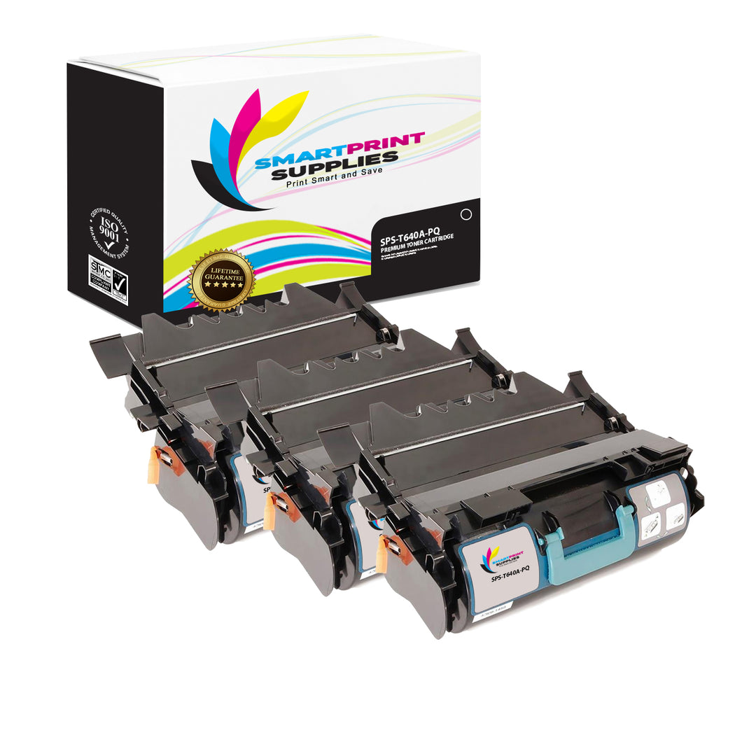 3 Pack Lexmark T640A Replacement Black Toner Cartridge by Smart Print Supplies