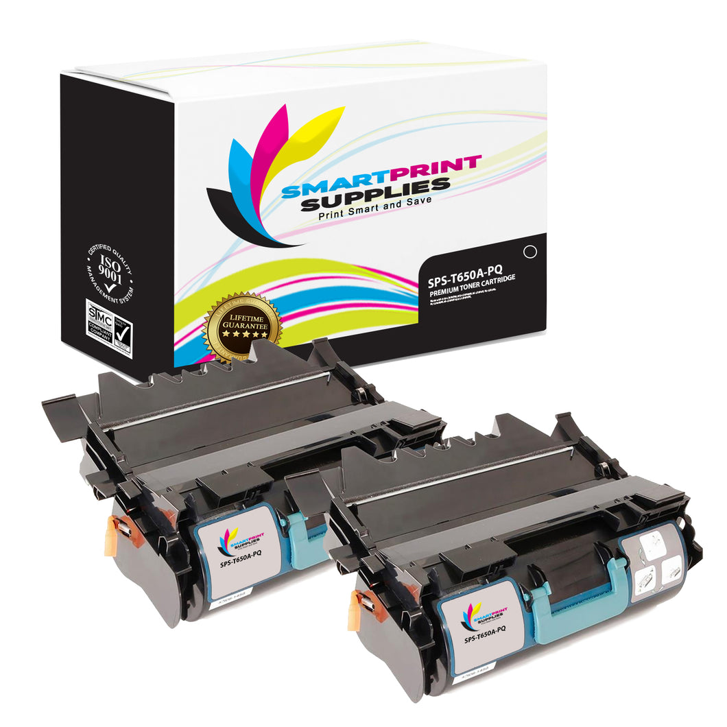 2 Pack Lexmark T650A Replacement Black Toner Cartridge by Smart Print Supplies
