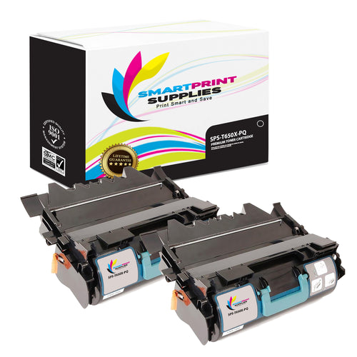 2 Pack Lexmark T650X Replacement Black Toner Cartridge by Smart Print Supplies
