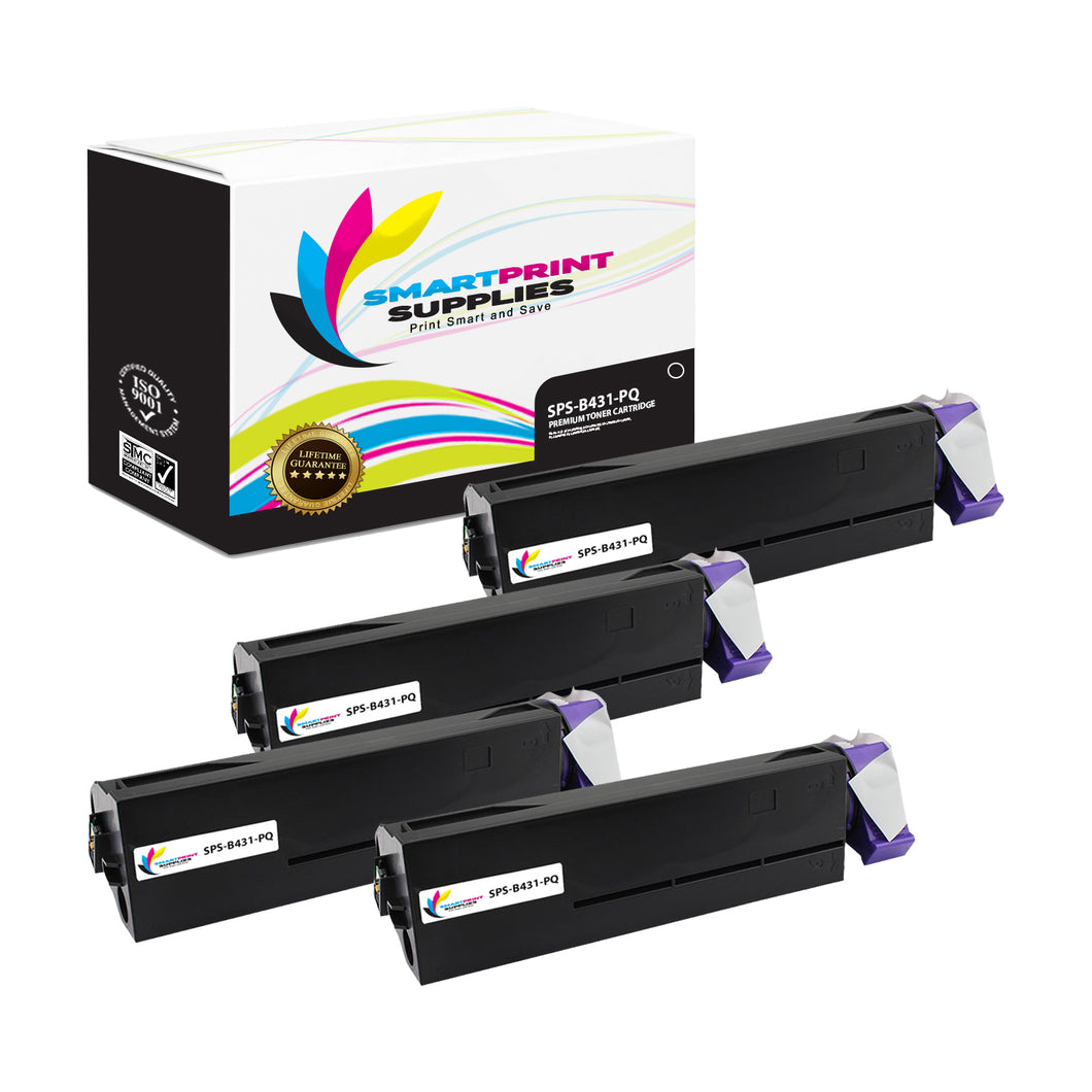 4 Pack Okidata 44574901 Premium Replacement Black Toner Cartridge by Smart Print Supplies