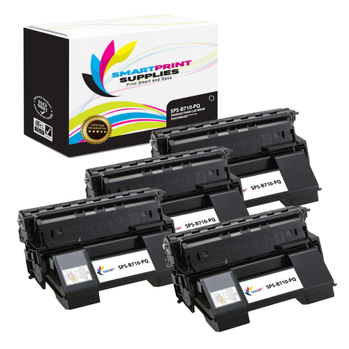 4 Pack Okidata 52123601 Premium Replacement Black Toner Cartridge by Smart Print Supplies