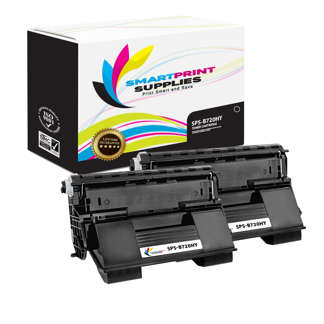 2 Pack Okidata B720 Black High Yield Toner Cartridge Replacement By Smart Print Supplies