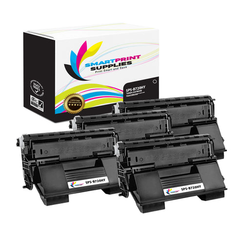 4 Pack Okidata B720 Black High Yield Toner Cartridge Replacement By Smart Print Supplies