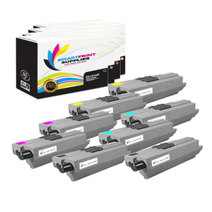 8 Pack Okidata C310 4 Colors Toner Cartridge Replacement By Smart Print Supplies