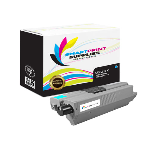 1 Pack Okidata C310 Cyan Toner Cartridge Replacement By Smart Print Supplies