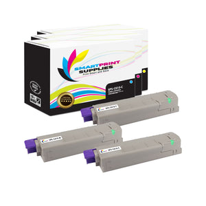 3 Pack Okidata C610 3 Colors Toner Cartridge Replacement By Smart Print Supplies