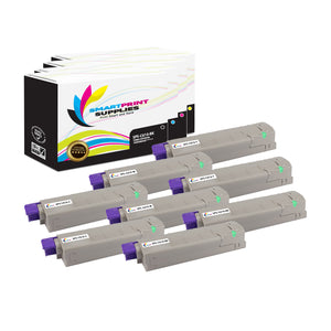 8 Pack Okidata C610 4 Colors Toner Cartridge Replacement By Smart Print Supplies
