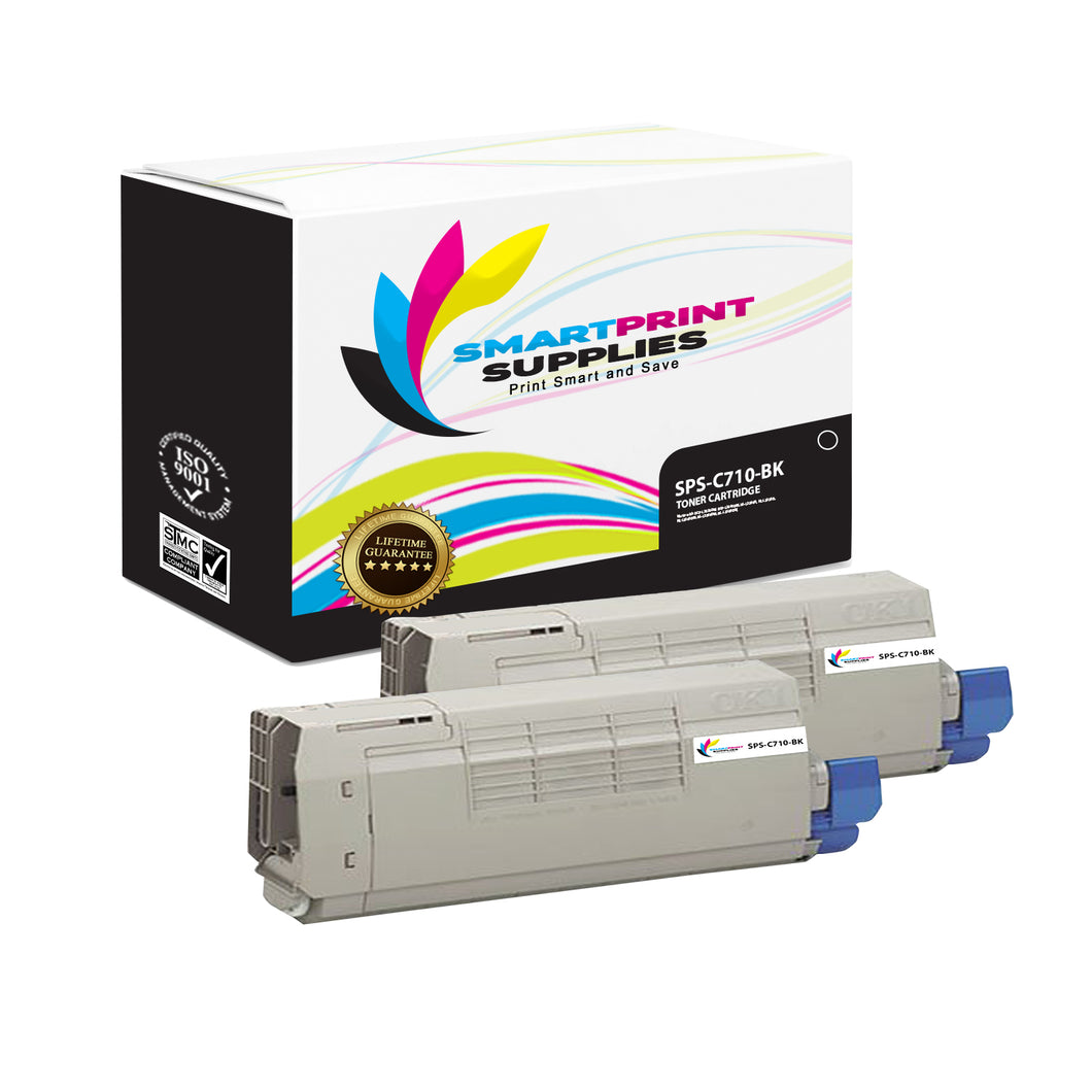2 Pack Okidata C710 Black Toner Cartridge Replacement By Smart Print Supplies