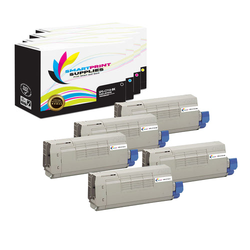 5 Pack Okidata C710 4 Colors Toner Cartridge Replacement By Smart Print Supplies