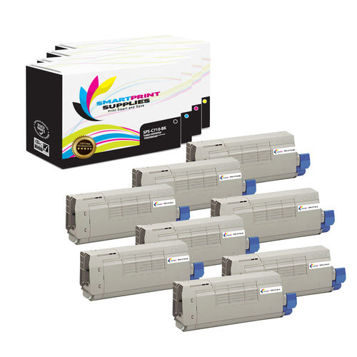 8 Pack Okidata C710 4 Colors Toner Cartridge Replacement By Smart Print Supplies