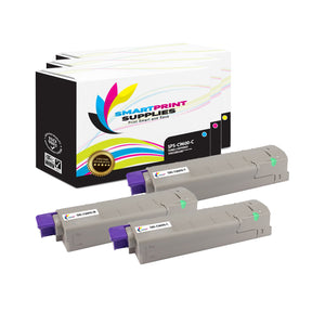 3 Pack Okidata C9600 3 Colors Toner Cartridge Replacement By Smart Print Supplies