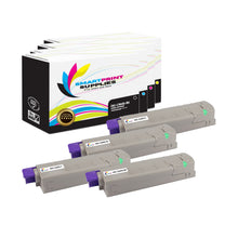 4 Pack Okidata C9600 4 Colors Toner Cartridge Replacement By Smart Print Supplies