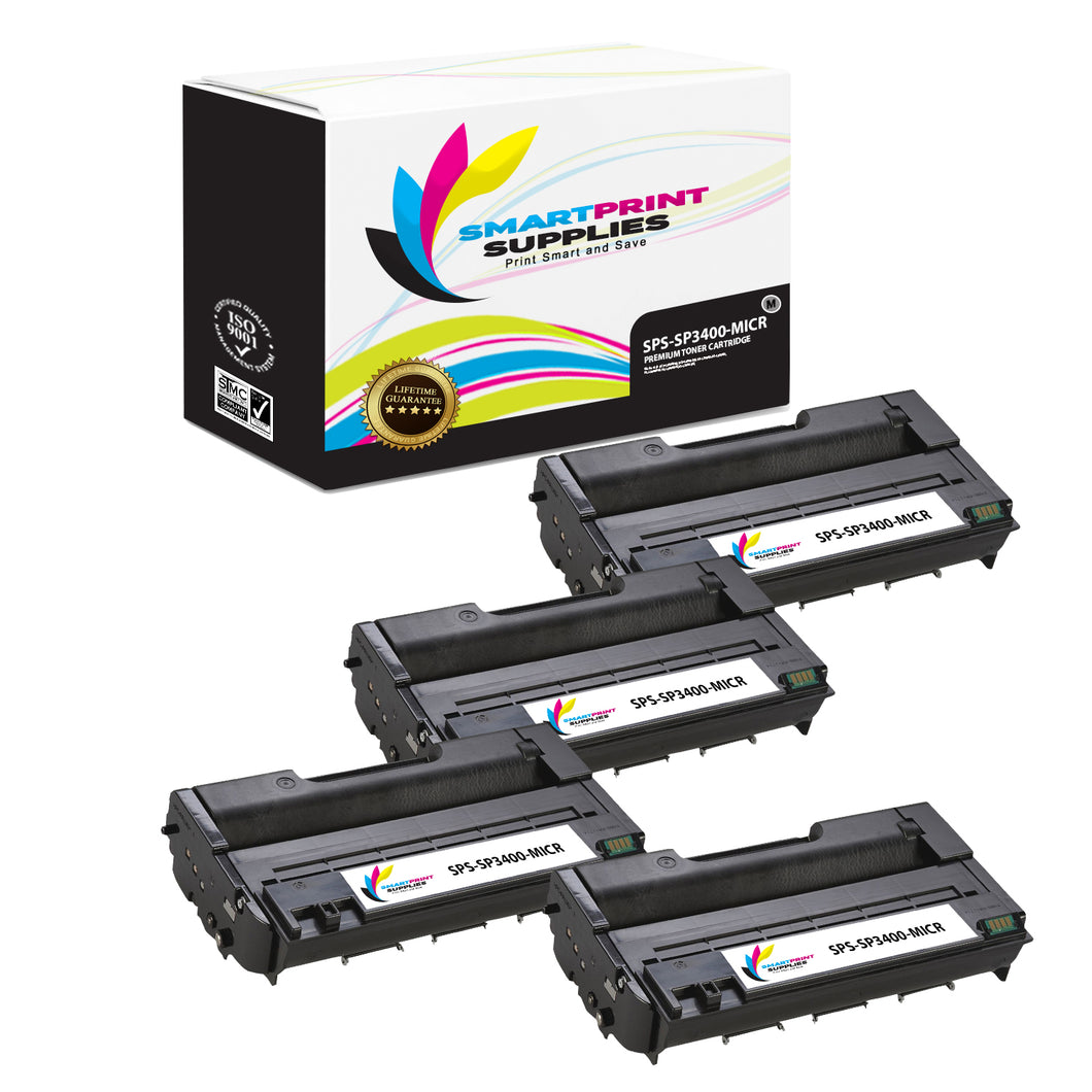 4 Pack Ricoh SP3400 MICR Replacement Black Toner Cartridge by Smart Print Supplies /5000 Pages