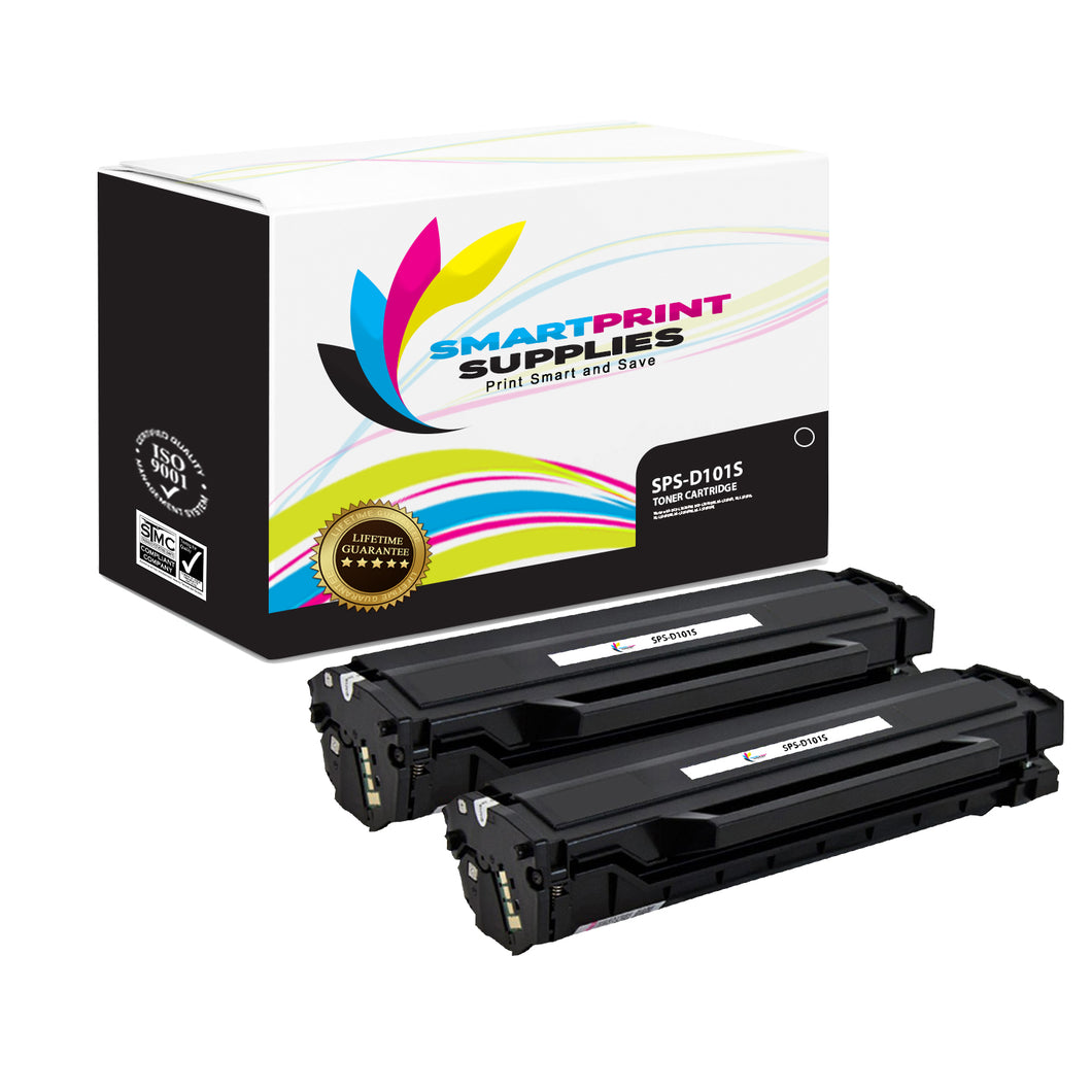 2 Pack Samsung D101S Black Toner Cartridge Replacement By Smart Print Supplies