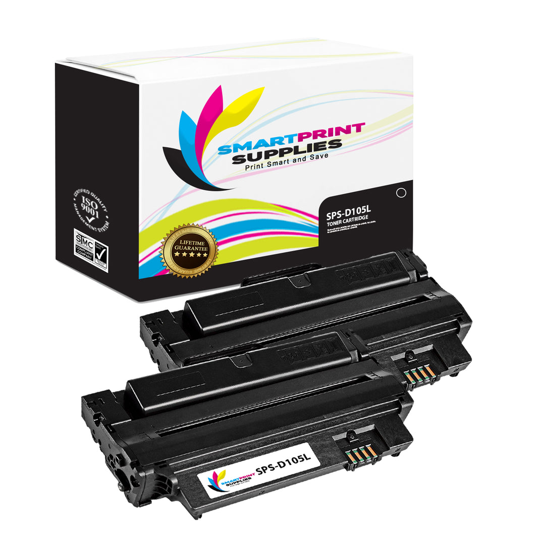 2 Pack Samsung D105L Black High Yield Toner Cartridge Replacement By Smart Print Supplies
