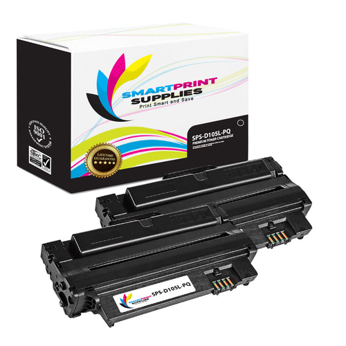 2 Pack Samsung MLTD105L Premium Replacement Black Toner Cartridge by Smart Print Supplies