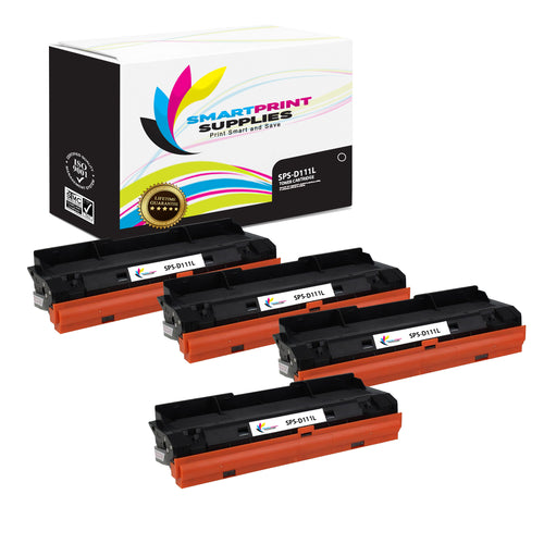 4 Pack Samsung D111L Replacement Black Toner Cartridge by Smart Print Supplies /1000 Pages
