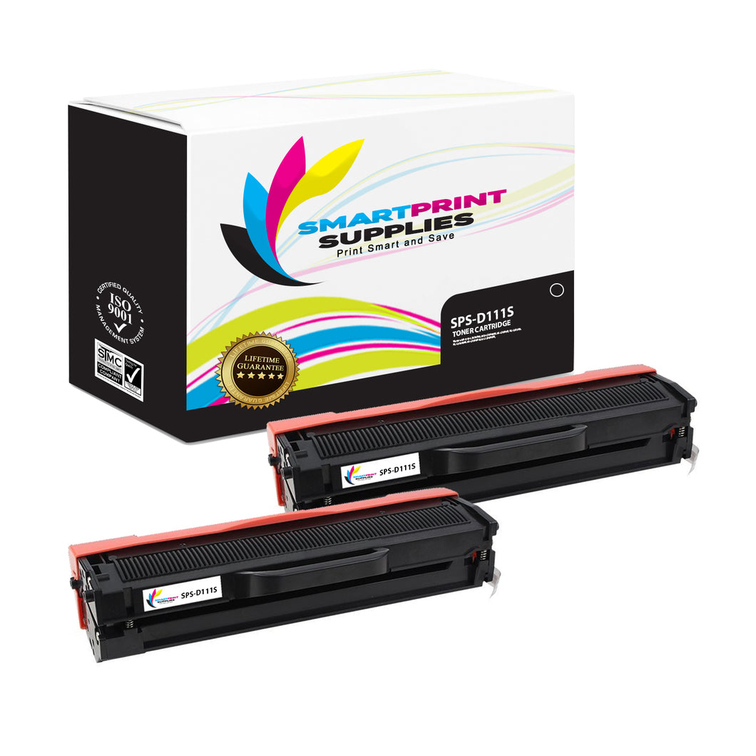 2 Pack Samsung D111S Replacement Black Toner Cartridge by Smart Print Supplies /1000 Pages