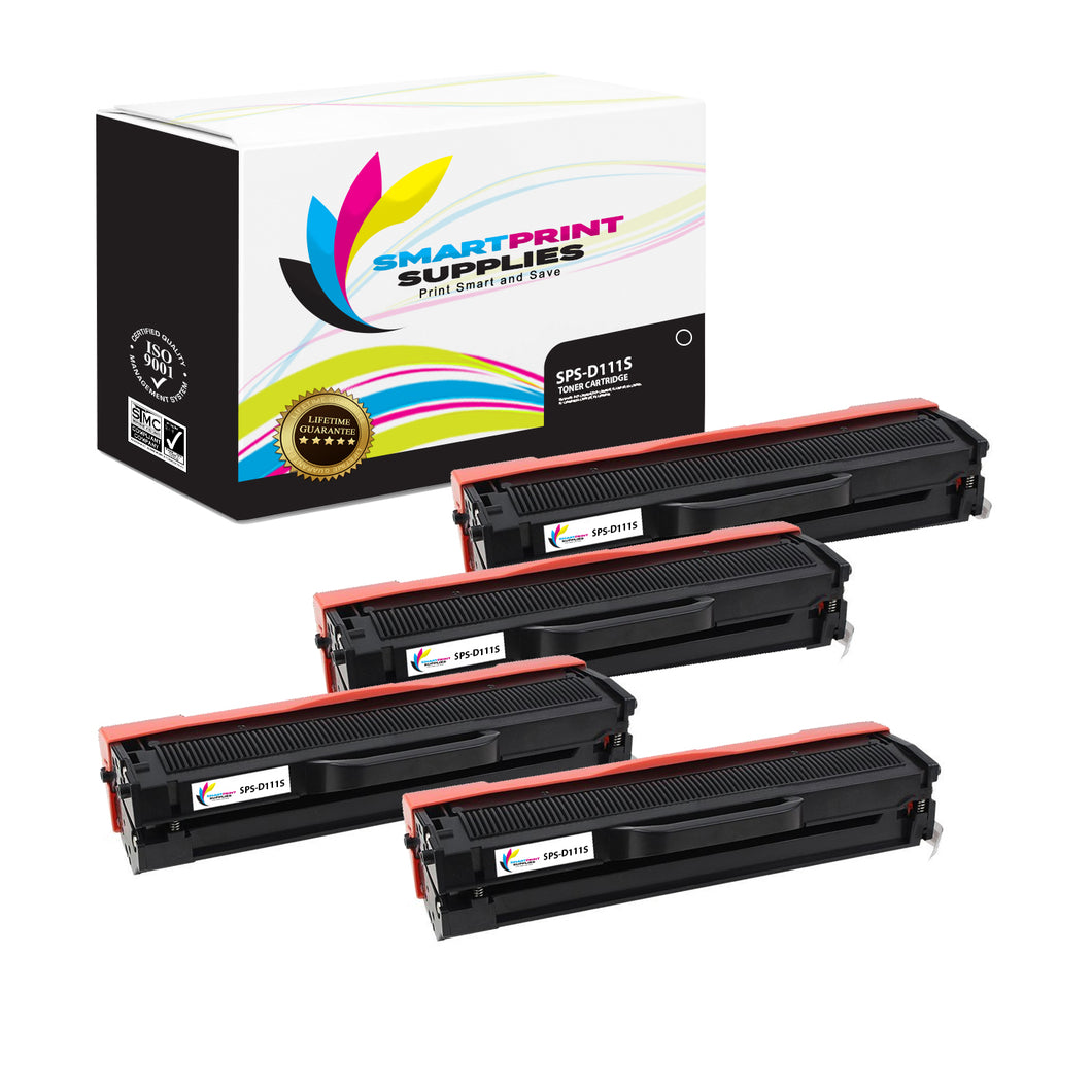 4 Pack Samsung D111S Replacement Black Toner Cartridge by Smart Print Supplies /1000 Pages