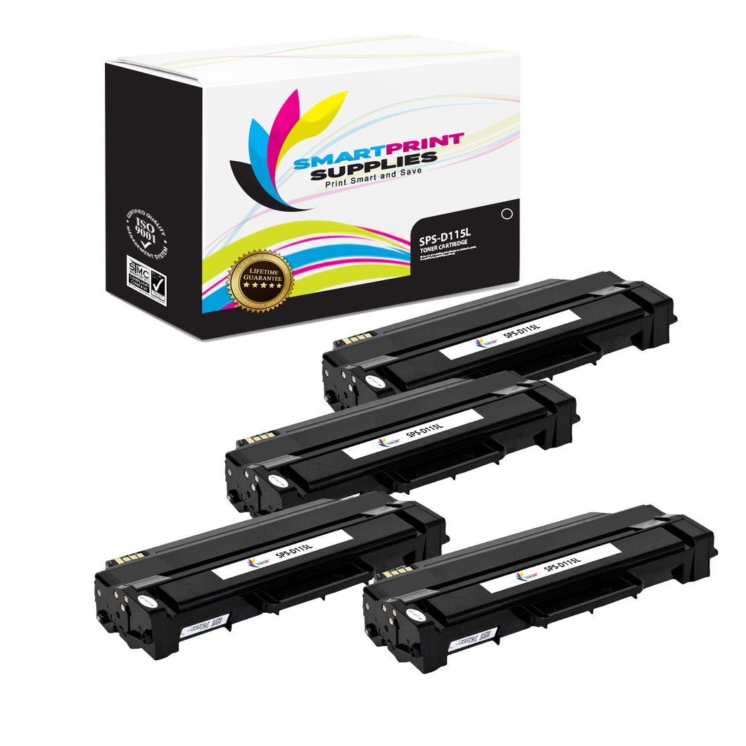 4 Pack Samsung D115L Black High Yield Toner Cartridge Replacement By Smart Print Supplies