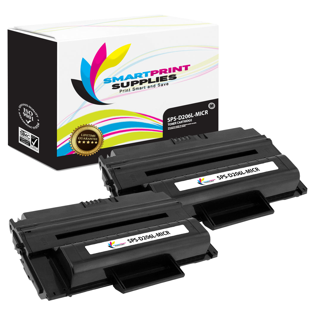 2 Pack Samsung D206L MICR Replacement Black Toner Cartridge by Smart Print Supplies /10000 Pages