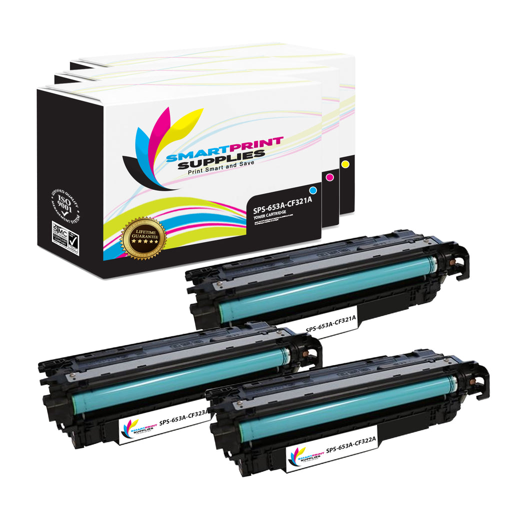 3 Pack HP 653A/653X 3 Colors Toner Cartridge Replacement By Smart Print Supplies