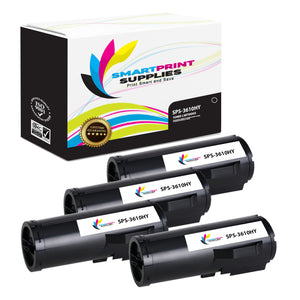 4 Pack Compatible Xerox X3610 Black High Yield Toner Cartridge Replacement By Smart Print Supplies