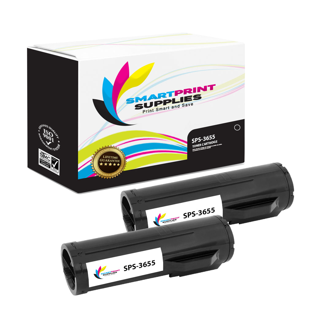 2 Pack Xerox X3655 Black Toner Cartridge Replacement By Smart Print Supplies