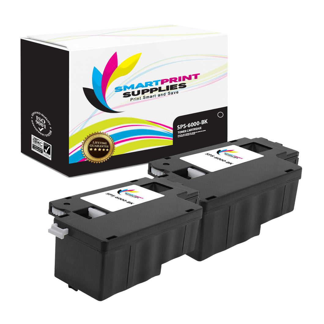 2 Pack Compatible Xerox Phaser 6000 Black Toner Cartridge Replacement By Smart Print Supplies