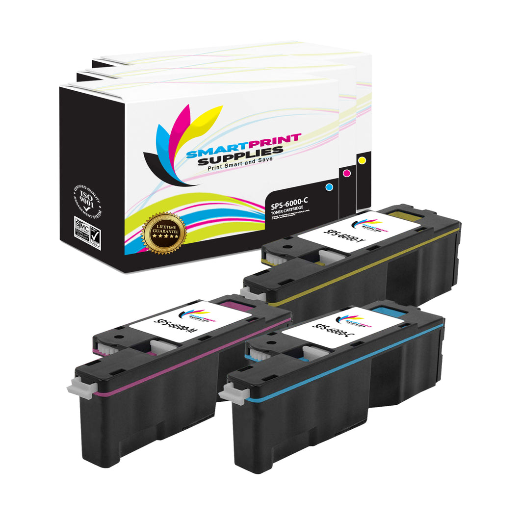 3 Pack Xerox Phaser 6000 3 Colors Toner Cartridge Replacement By Smart Print Supplies