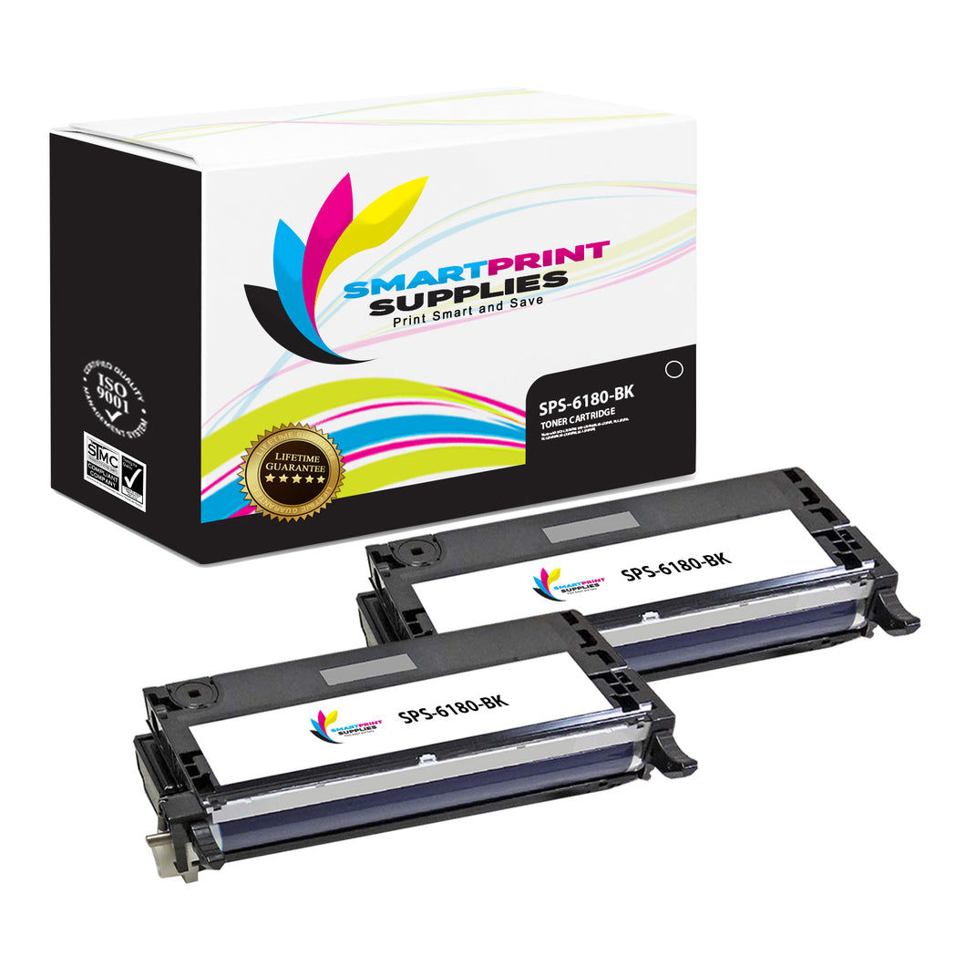 2 Pack Xerox Phaser 6180 Black High Yield Toner Cartridge Replacement By Smart Print Supplies