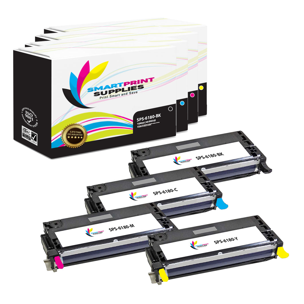 4 Pack Xerox Phaser 6180 4 Colors High Yield Toner Cartridge Replacement By Smart Print Supplies