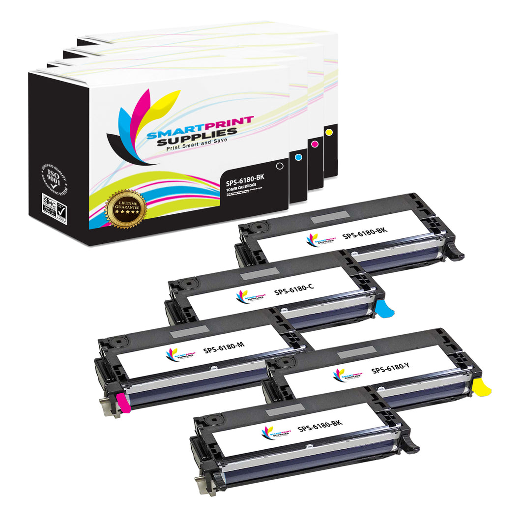 5 Pack Compatible Xerox Phaser 6180 4 Colors High Yield Toner Cartridge Replacement By Smart Print Supplies
