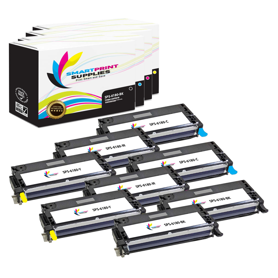 8 Pack Xerox Phaser 6180 4 Colors High Yield Toner Cartridge Replacement By Smart Print Supplies