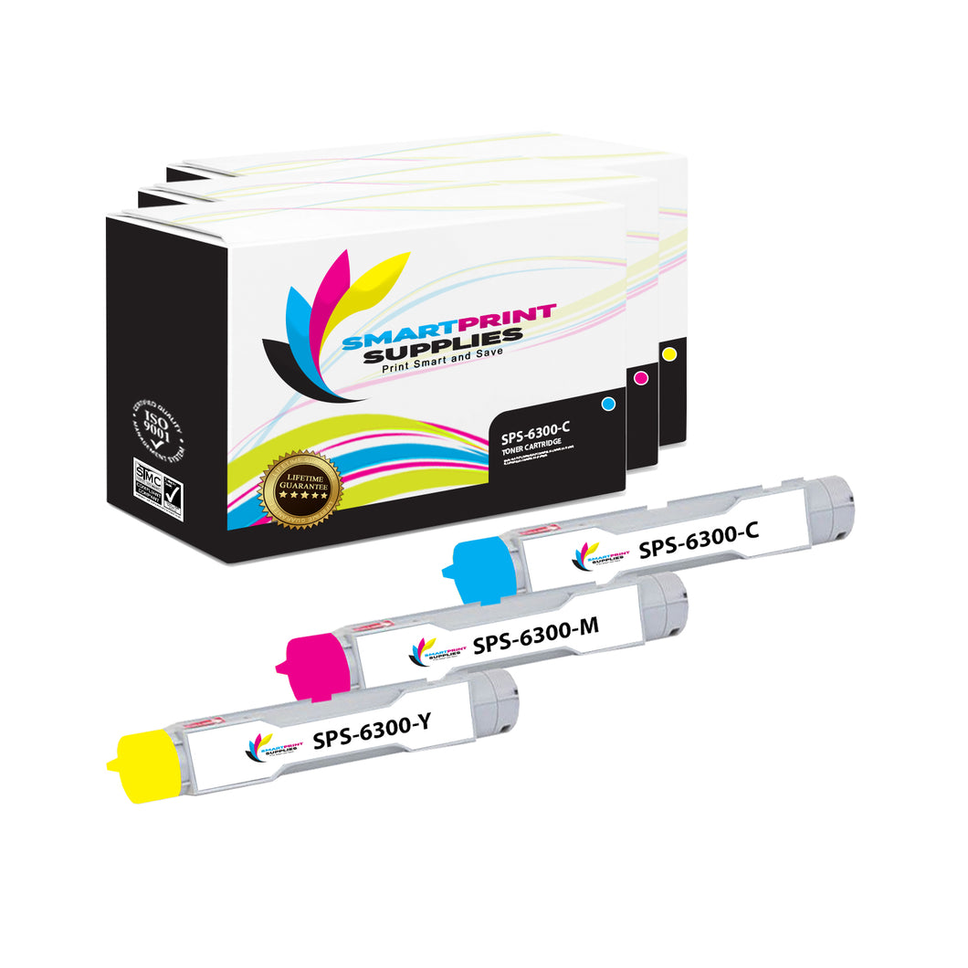 3 Pack Xerox Phaser 6300 3 Colors High Yield Toner Cartridge Replacement By Smart Print Supplies