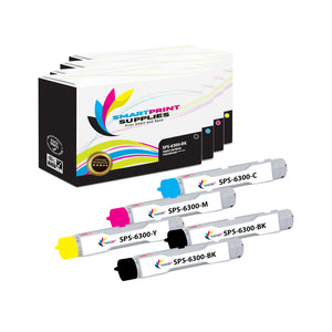 5 Pack Xerox Phaser 6300 4 Colors High Yield Toner Cartridge Replacement By Smart Print Supplies