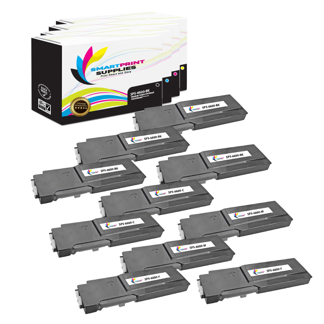 10 Pack Xerox Phaser 6600 4 Colors Toner Cartridge Replacement By Smart Print Supplies